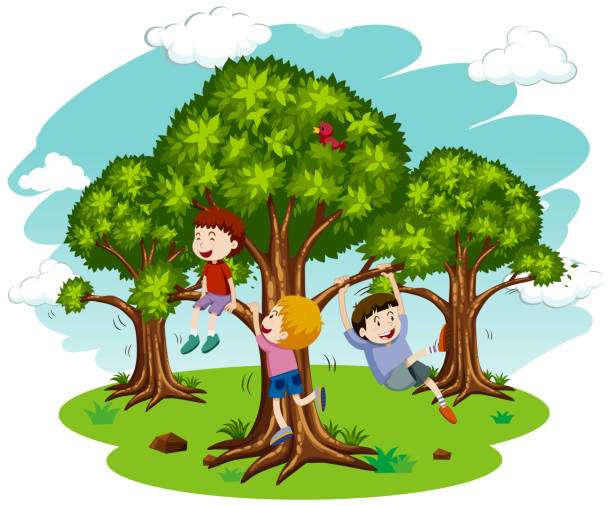 Children Playing in Nature illustration